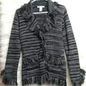 SARAH SPENCER Fringe Striped Cardigan w Pockets